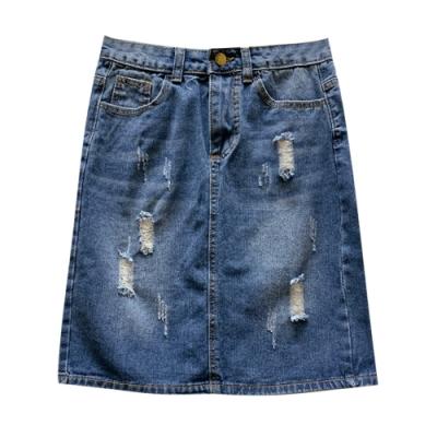 刷破刷色牛仔裙 TATA-(S~XL)