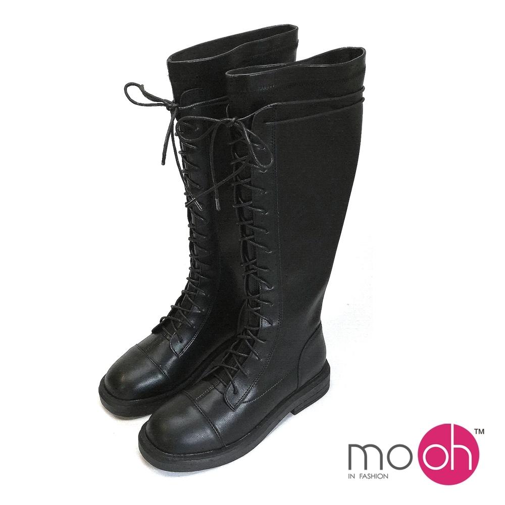 mo.oh 綁帶彈力布厚底顯瘦馬丁長靴-黑色