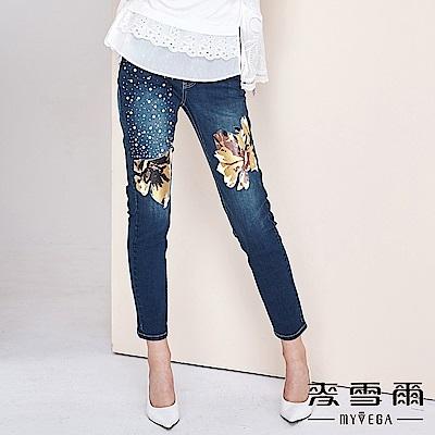 【麥雪爾】棉質花朵印花珍珠燙鑽彈力牛仔褲