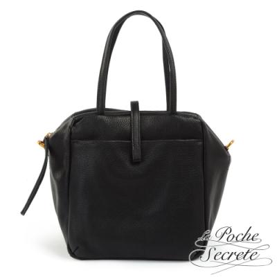La Poche Secrete手提包 簡約真皮皮釦手提斜側背包-百搭黑