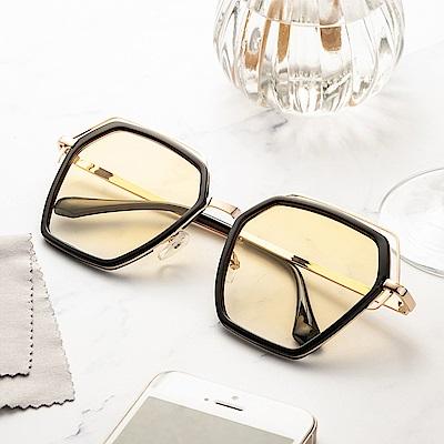 尚佰家 寶麗萊鏡片時尚造型抗UV太陽眼鏡-黑框透黃(882A)
