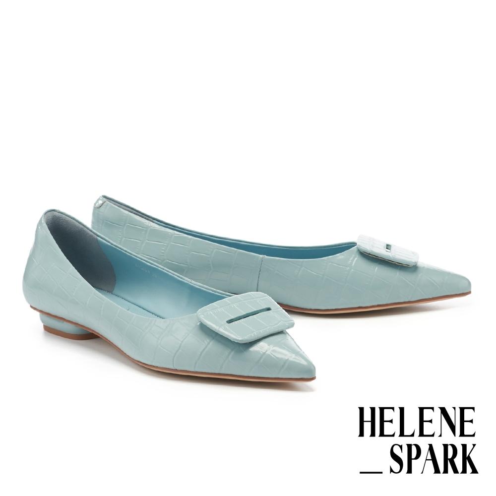平底鞋 HELENE SPARK 簡約質感方釦全真皮尖頭平底鞋-藍