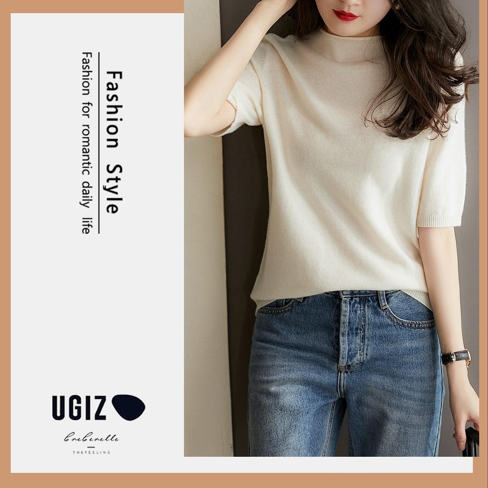 UGIZ-修身圓領素色針織造型上衣-4色(F)