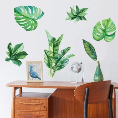 半島良品 DIY北歐風無痕壁貼 SK9239-(雙拼款)北歐綠色植物 60X90