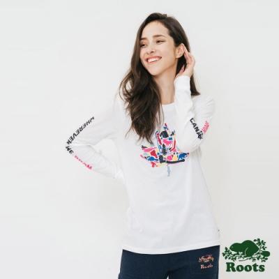 女裝ROOTS - 楓葉長袖T恤-白色