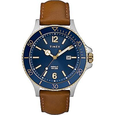 TIMEX 天美時 風格系列 經典紳士手錶-藍x棕色-42mm
