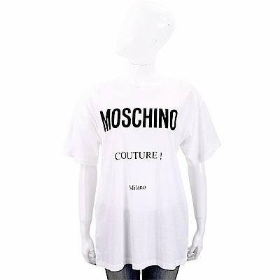 MOSCHINO 品牌LOGO印花白色棉質T恤(寬版)