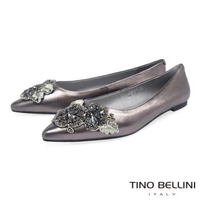 Tino Bellini 亮鑽鏽花尖頭平底娃娃鞋_鐵灰
