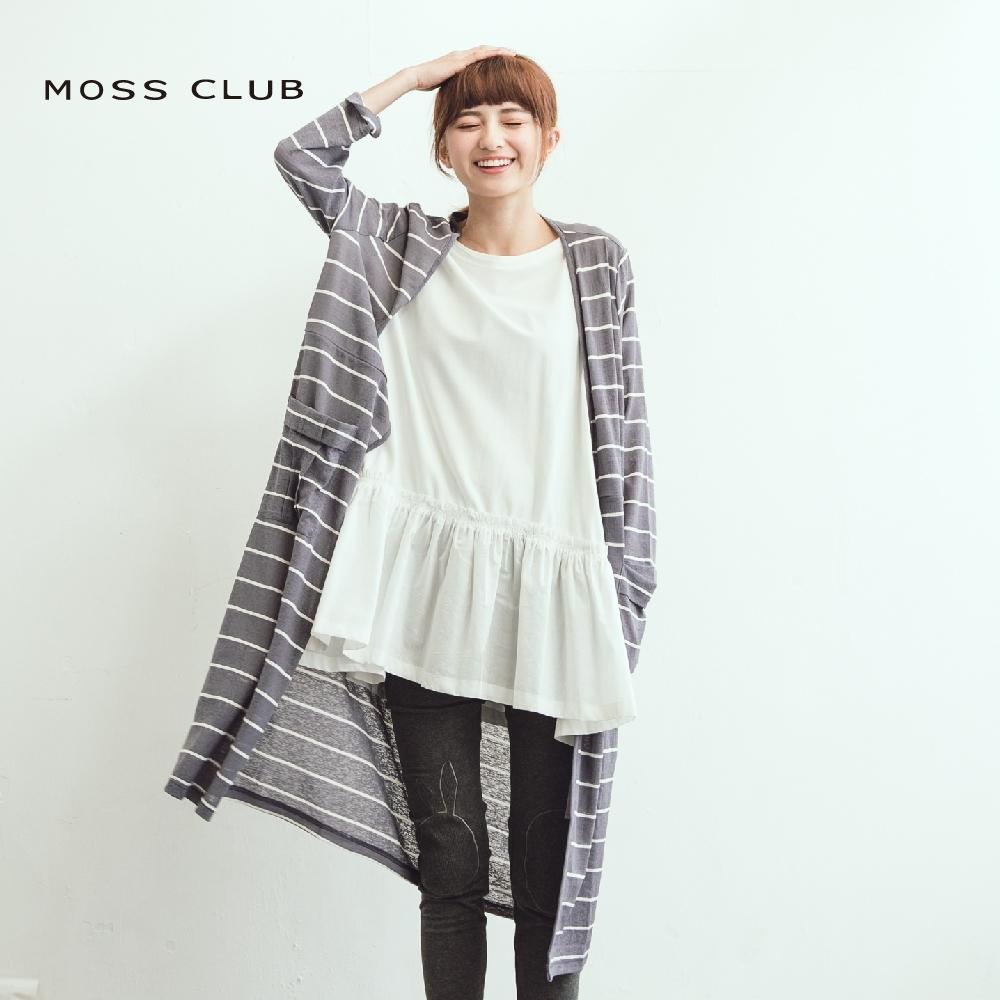 【MOSS CLUB】舒適遮陽透氣長版條紋-外套(綠色)