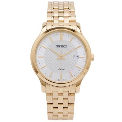 SEIKO 經典簡約款三針不鏽鋼錶帶手錶 (SUR296P1)-銀面X金色/40mm
