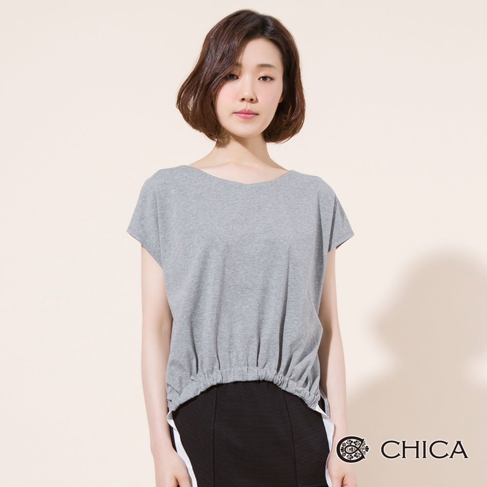 CHICA 率性日常織帶縮口下襬上衣(2色)