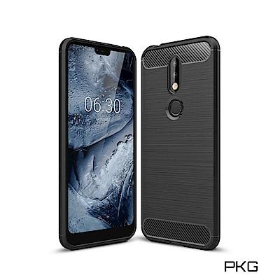 PKG Nokia 8.<b>1</b> 手機殼-時尚碳纖紋路+抗指紋-精緻黑
