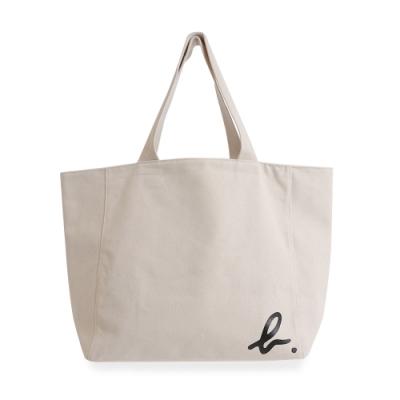 agnes b. Voyage 大型邊角b logo棉質手提袋(白)