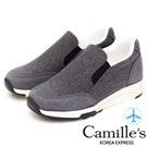 Camille's 韓國空運-毛呢配色運動懶人休閒鞋-灰色