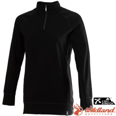 Wildland 荒野 0A72603-54黑色 女彈性長版立領保暖上衣