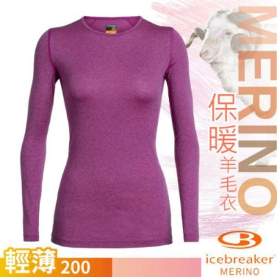 Icebreaker 女 200 Oasis 輕薄款長袖圓領上衣_桃紅/天際線條