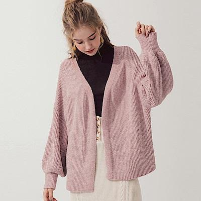 AIR SPACE 無排釦落肩開襟針織罩衫(粉紅) @ Y!購物
