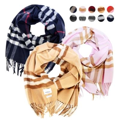 [時時樂限定]BURBERRY 經典格紋羊絨流蘇圍巾(多色選)