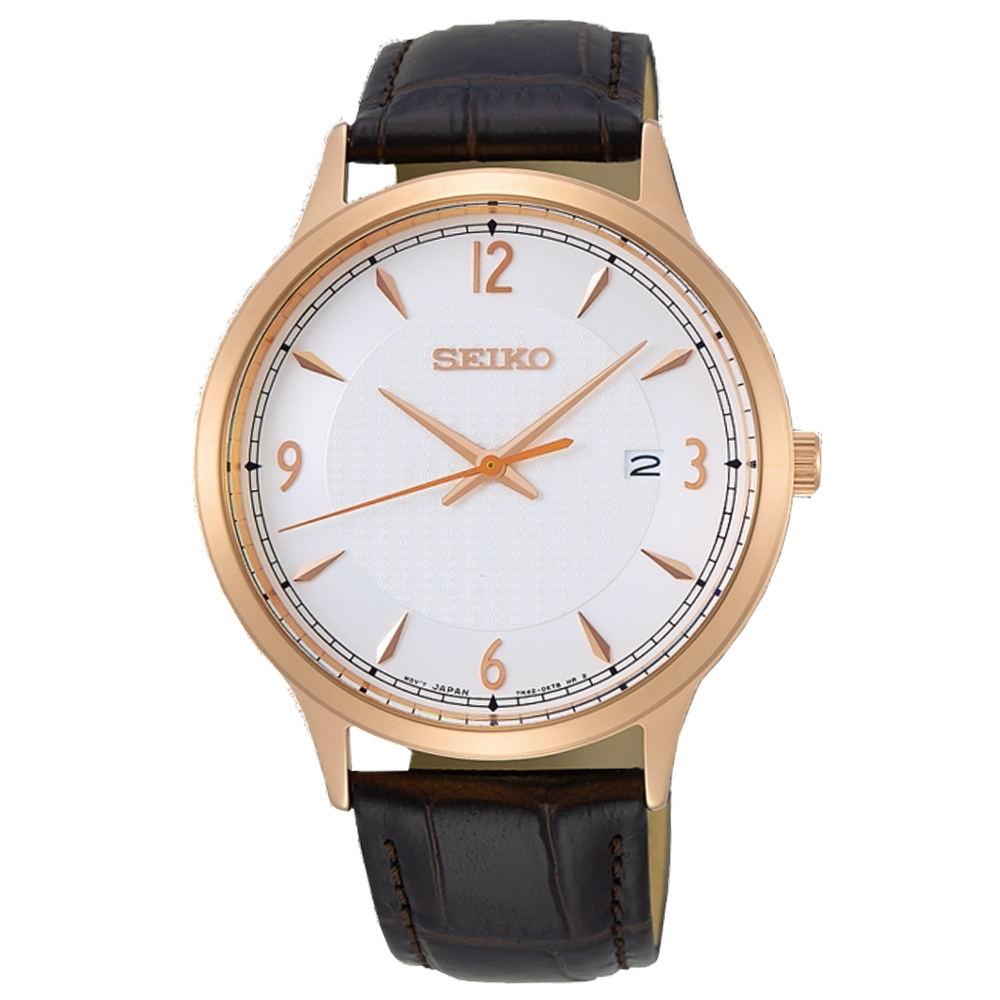 SEIKO精工   溫柔紳士皮革石英腕錶(SGEH88P1)-白面x41mm