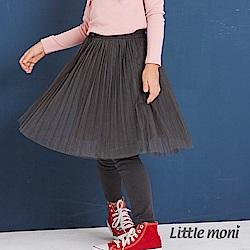 Little moni 假兩件網紗蓬裙褲(兩色可選)