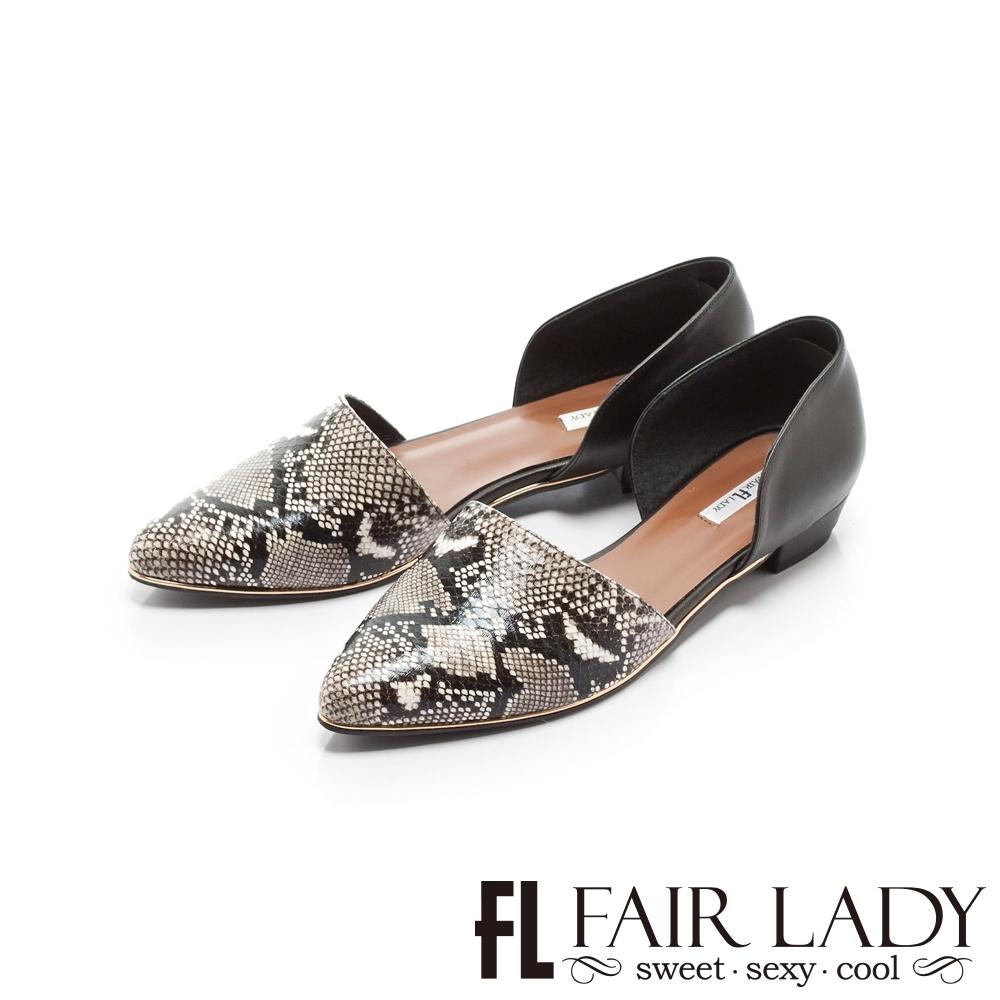 【FAIR LADY】優雅小姐Miss Elegant動物皮紋拼接挖空低跟鞋 黑蛇紋