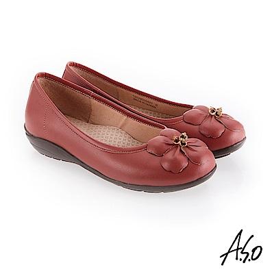 A.S.O 新式復古 花朵裝飾休閒鞋 橘紅