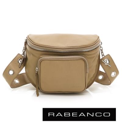 RABEANCO INA牛皮T型鏈條寬背帶斜背/腰包(大)駝