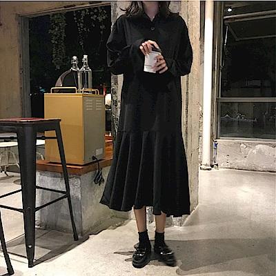 中大尺碼黑色排釦襯衫式魚尾裙大裙擺洋裝L~4L-Ballet Dolly