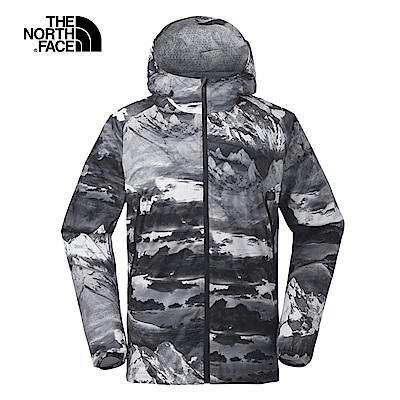 The North Face北面男款灰色水墨印花防水透氣衝鋒衣|3F4P7ED