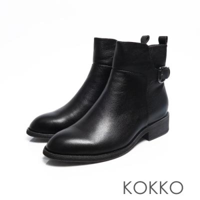 KOKKO - 精品質感擦色平底牛皮短靴 - 百搭黑