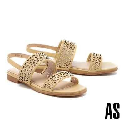 涼鞋 AS 圖騰沖孔寬版一字帶羊皮低跟涼鞋-黃