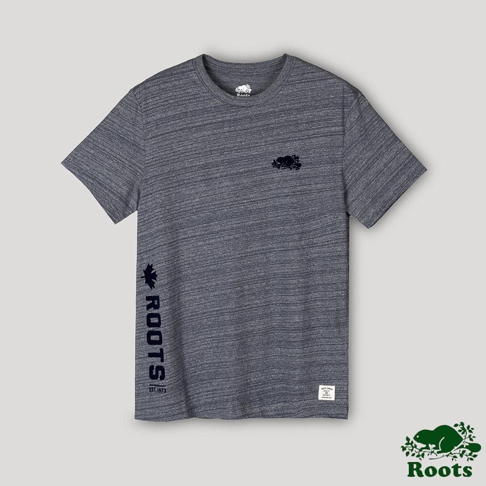 Roots男裝- 椒鹽灰系列 段染短袖T恤-海軍藍