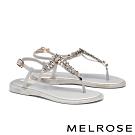 涼鞋 MELROSE 亮麗時尚閃爍晶鑽夾腳涼鞋-灰