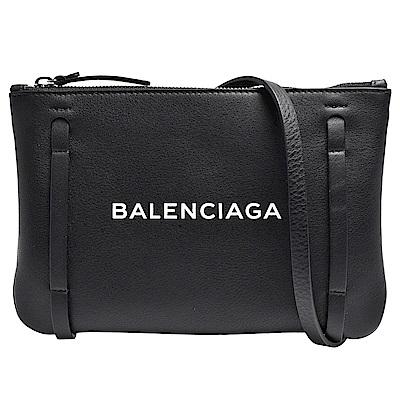 BALENCIAGA 經典EVERYDAY系列品牌字母烙印小牛皮肩/斜背包(黑)
