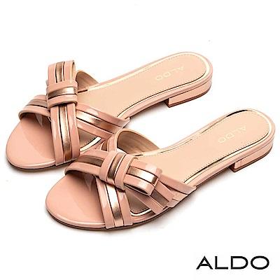 ALDO 原色不對稱蝴蝶領結雙色夾心涼鞋~氣質粉色