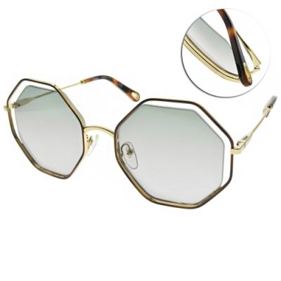 CHLOE太陽眼鏡  八角漸層鏡片款/琥珀棕金-漸層綠 #CE132S 240