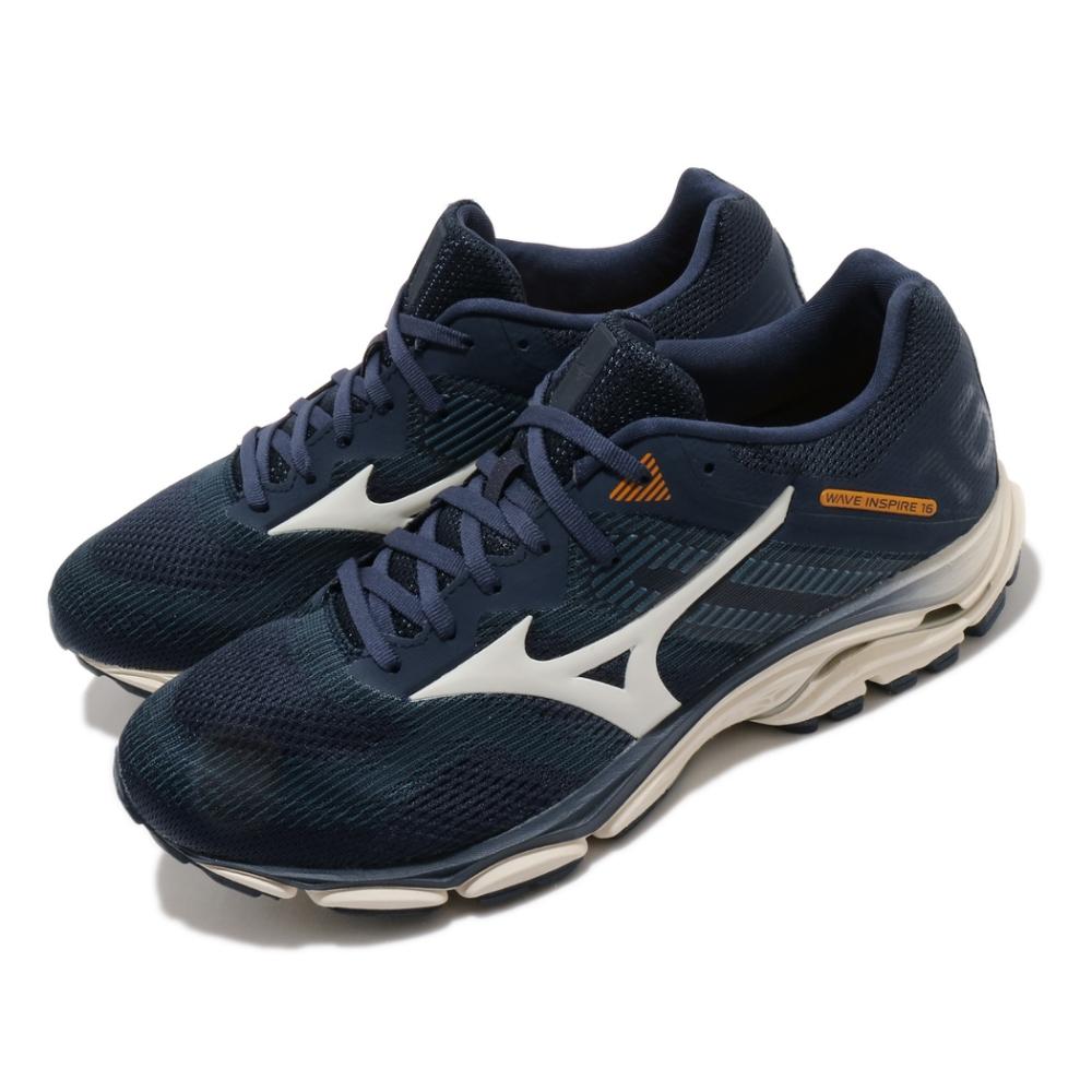 Mizuno 慢跑鞋 Wave Inspire 16 SW 男鞋 美津濃 超寬楦 路跑 緩震 透氣 耐磨 藍 米 J1GC204541