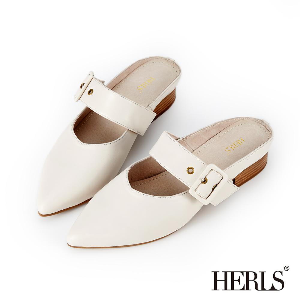 HERLS 氣質溫柔 全真皮瑪莉珍尖頭穆勒鞋-白色