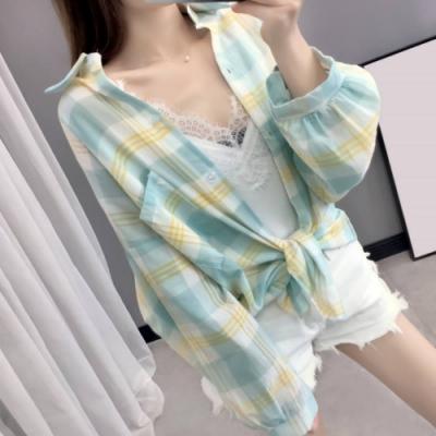 La Belleza單口袋格子配色條紋棉麻開釦襯衫