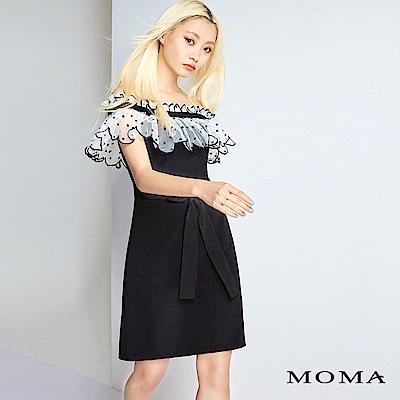 MOMA 圓點網紗拼接綁帶洋裝