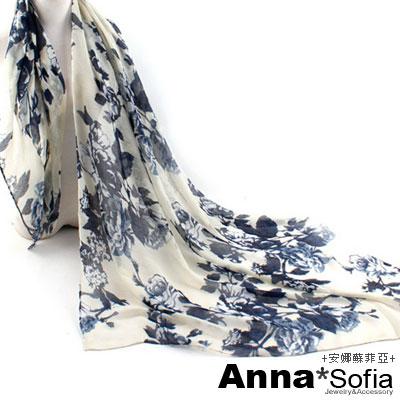 AnnaSofia 玫瑰花蔓 巴黎紗披肩圍巾(米黃藍)
