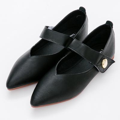 River&Moon中大尺碼-瑪莉珍超纖Q軟橡膠平底尖頭鞋-黑