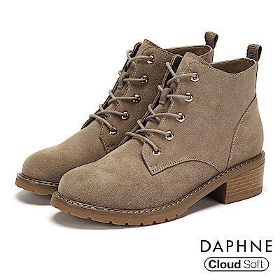 達芙妮DAPHNE 短靴-質感牛麂皮綁帶木紋粗跟短靴-卡其色