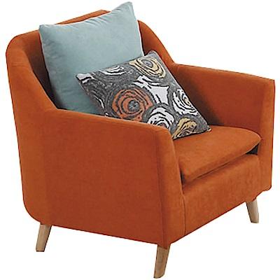 品家居 瑞典時尚紅絲絨布單人座沙發椅-86x76x88cm免組