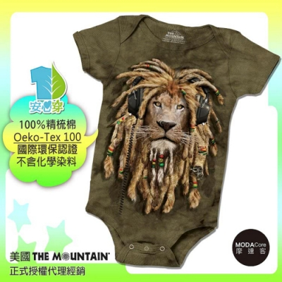 摩達客-預購-美國進口The Mountain DJ加滿獅 精梳純棉嬰幼兒短袖包屁衣
