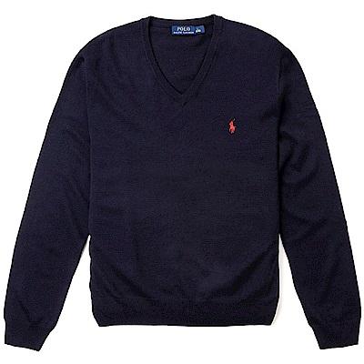 Polo Ralph Lauren 經典刺繡小馬V領針織棉質毛衣-深藍色