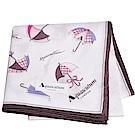 Aquascutum 風格時尚仕女品牌雨傘圖騰字母LOGO帕領巾(粉紅系)