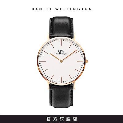 DW 手錶 官方旗艦店 40mm玫瑰金框 Classic 爵士黑真皮皮革