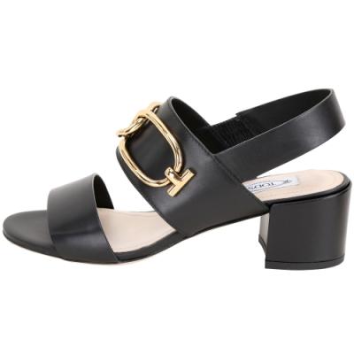 TOD'S 寬版金屬環釦粗跟涼鞋(黑色)