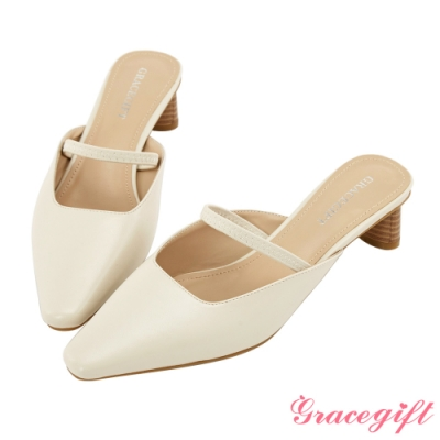Grace gift-繫帶方口木紋造型中跟鞋 米白